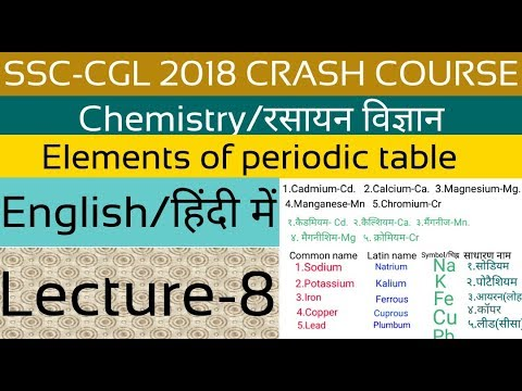 Cgl 2018 Chemistry Periodic Table In Hindi And English Lecture 8