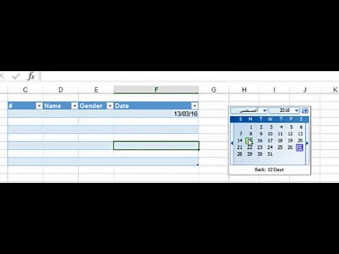 How to use date time picker in Microsoft office excel 2013