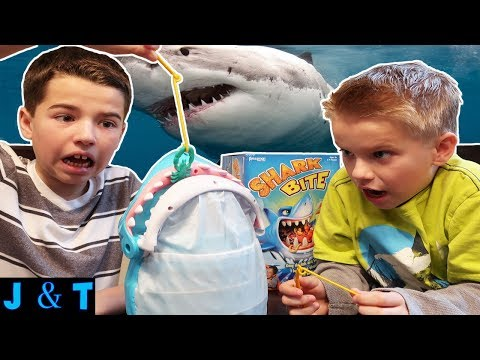 BROTHERS PLAY SHARK BITE! A FAMILY FUN GAME FOR KIDS! / Jake and Ty