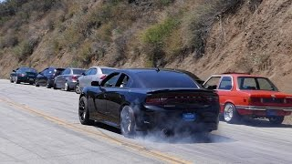 Dodge Charger Hellcat coming up Mulholland then leaving with a burnout
