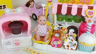 Baby doll and Oven Bakery food shop toys pororo car play 아기인형 부푸러 빵가게 뽀로로 리틀미미 자동차 장난감놀이 - 토이몽