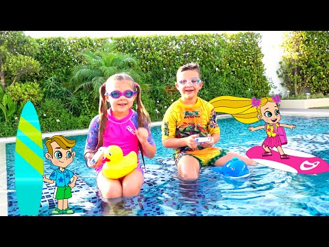 Diana and Roma Learn to Swim and Play Summer Games