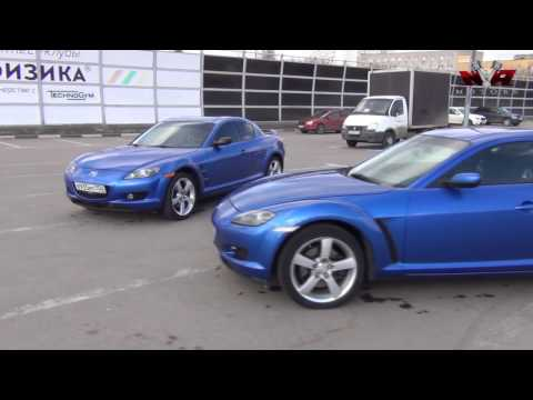 Two Mazda RX-8 with a V6 and a V8 after the Swap.