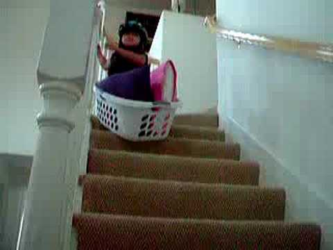 Laundry Basket Stair Ride   YouTube