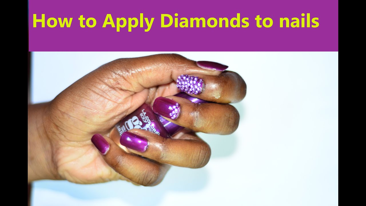 How to apply diamonds or jewelry on nails (1st attempt) - YouTube