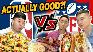 NBA Arena vs NFL Stadium FOOD! (Which is better?) Video