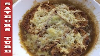 French onion soup the very best with TV Chef Julien from Saveurs Dartmouth U.K.
