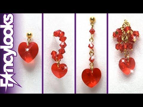 01d10c820ac9 DIY Cuatro modelos Pendientes de corazón de cristales Swarovski