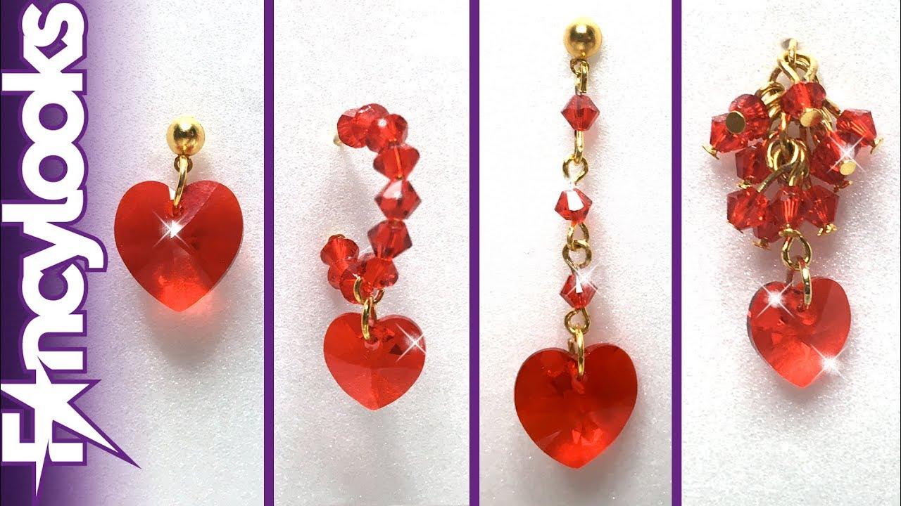5c6e57b54ea4 Информация о видео DIY Cuatro modelos Pendientes de corazón de cristales  Swarovski