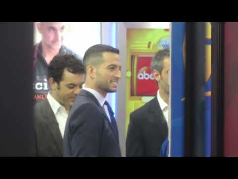 The Wonder Years actors Fred Savage and Josh Saviano with Tony Reali on Good Morning America