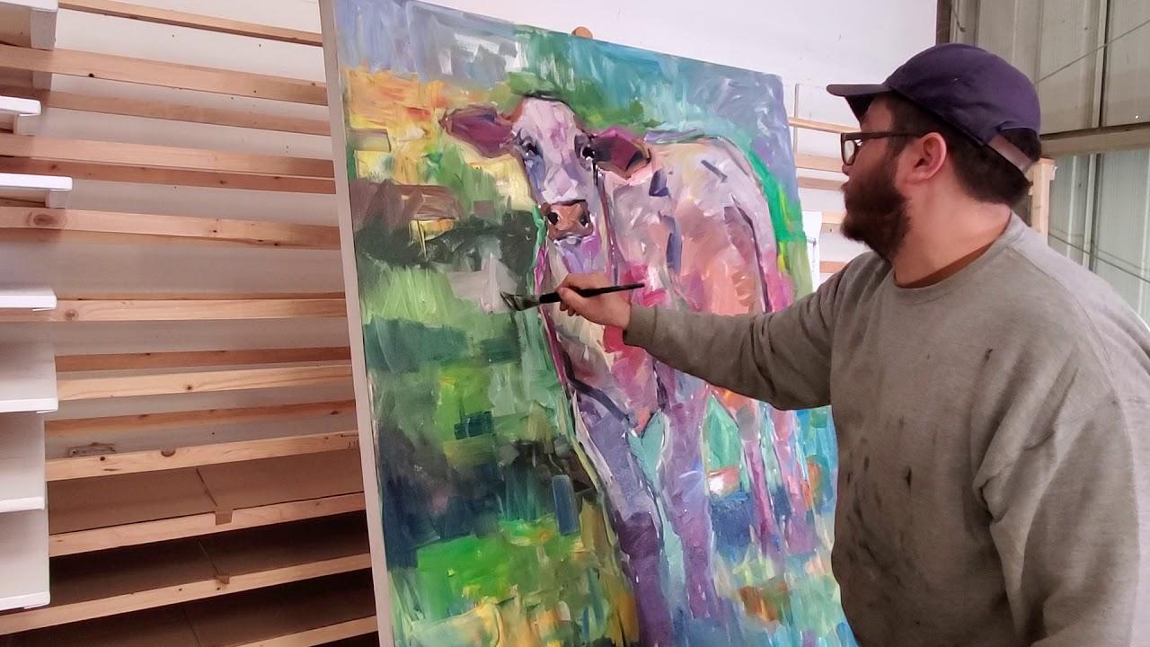 Huge Cow Oil Painting Ebay Auction Artist Jose Trujillo