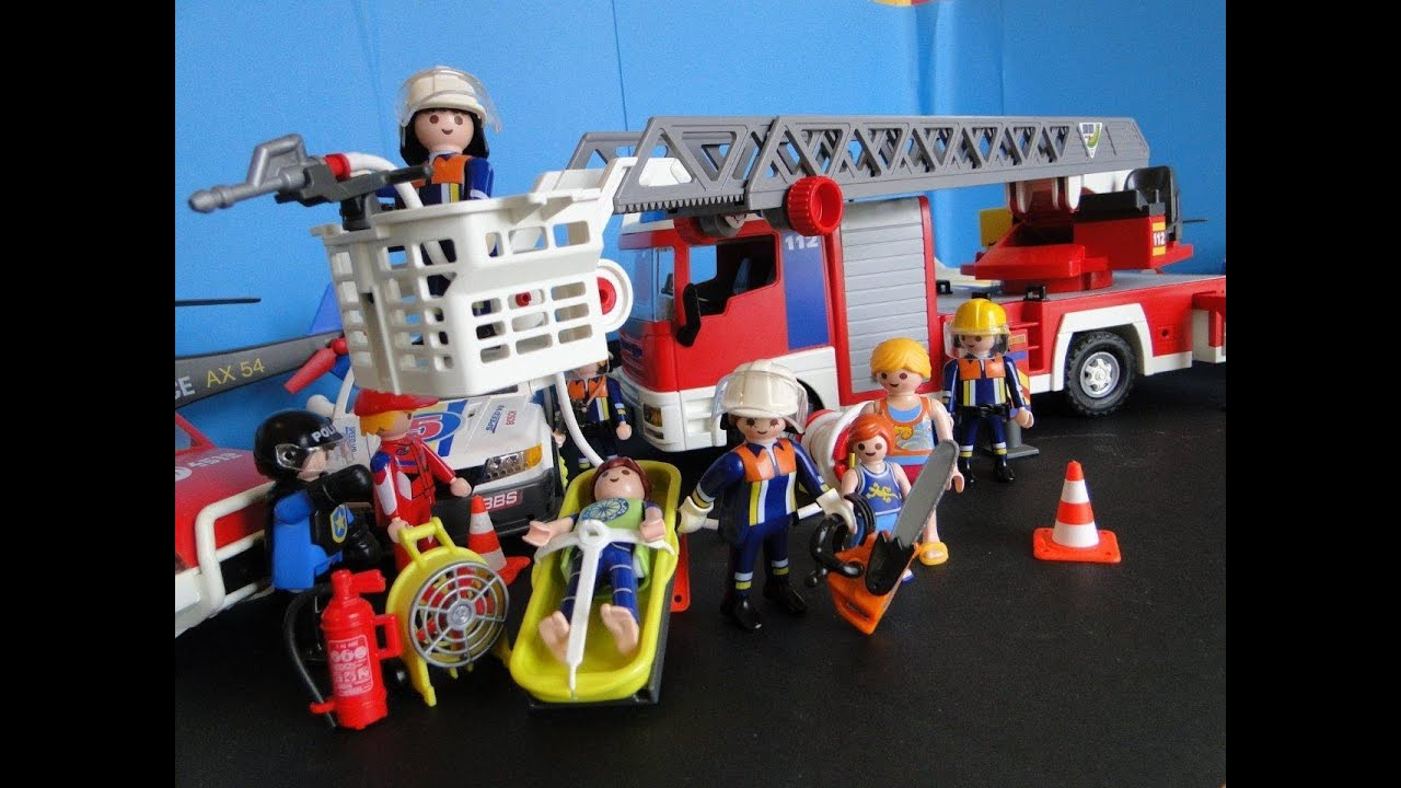 playmobil pompiers demo fireman rescue feuerwehr bomberos youtube. Black Bedroom Furniture Sets. Home Design Ideas