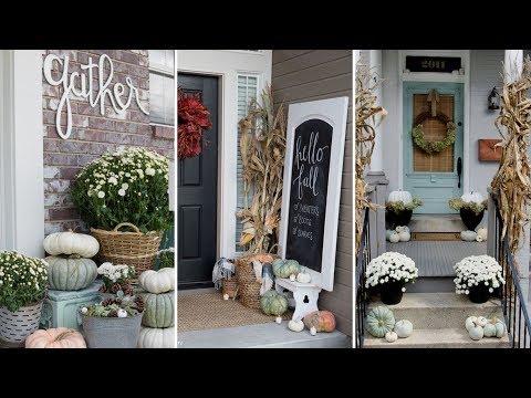 ❤DIY Rustic Farmhouse style Fall Front Porch decor Ideas❤ |  Fall Home decor | Flamingo Mango