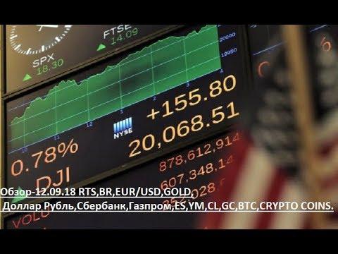 Обзор-12.09.18 RTS,BR,EUR/USD,GOLD, Доллар Рубль,Сбербанк,Газпром,ES,YM,CL,GC,BTC,CRYPTO COINS