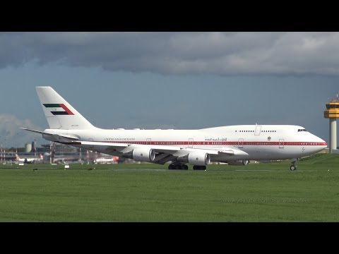 Crosswind landing from Government of United Arab Emirates Boeing 747 A6-UAE @ Hamburg Airport