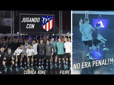 JUEGO UN PARTIDO CON JUGADORES DEL ATLETICO DE MADRID!! | CACHO01