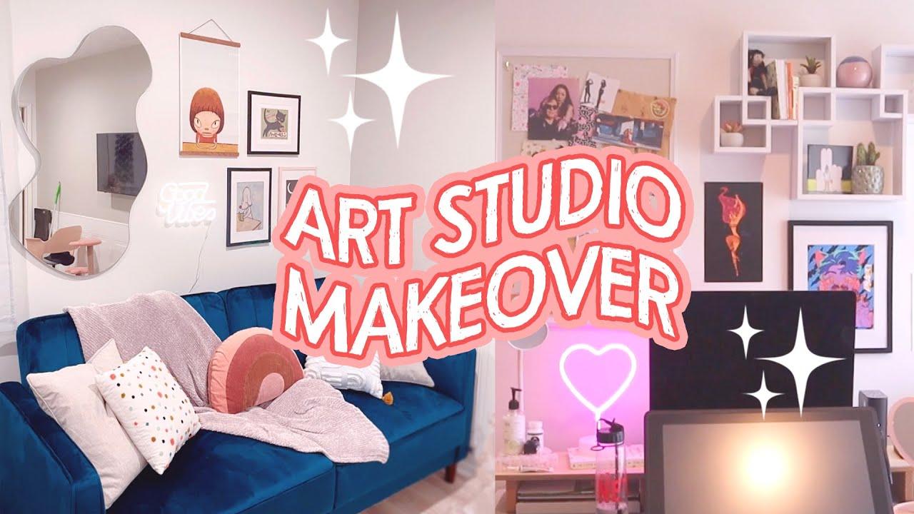 ART STUDIO MAKEOVER + TOUR 👩🏻🎨✨ cute + funky aesthetic