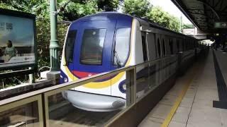 【香港の鉄道】MTR迪士尼(ディズニー)線 迪士尼駅を発車するメトロキャメル電車