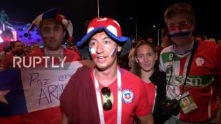Russia: Chile fans celebrate win over Cameroon