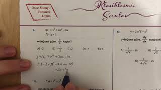 345 AYT Matematik TÜREV-I Test-1 Anlatımlı Çözümleri (2018-2019 basım)