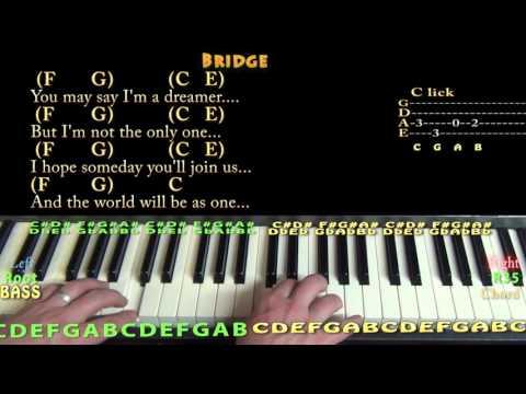 Imagine (John Lennon) Piano Chord Chart in C Major