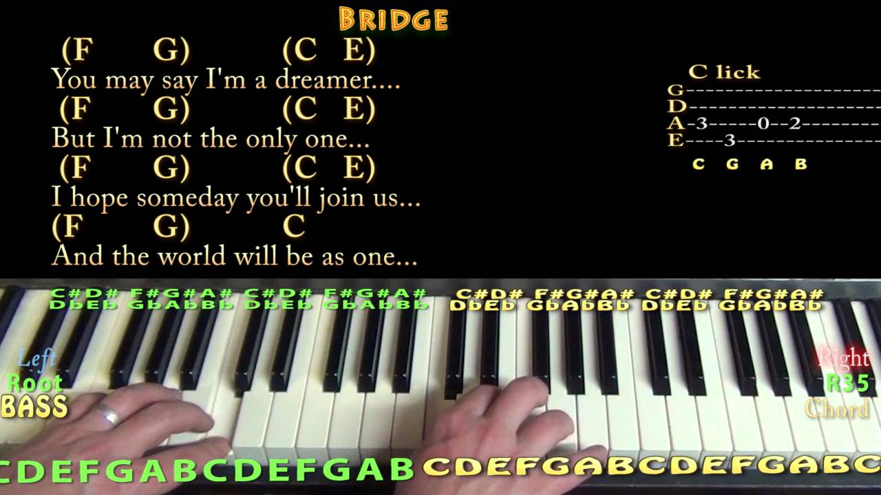 Imagine john lennon piano chord chart in c major youtube imagine john lennon piano chord chart in c major hexwebz Gallery