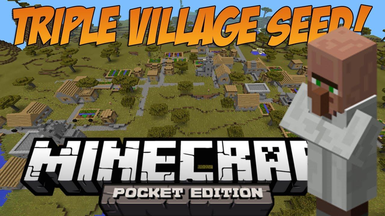 Triple Village at spawn + 11 Blacksmiths! - Minecraft: Pocket Edition Seed  Showcase