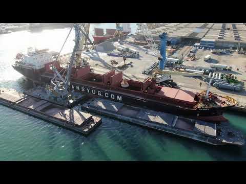 Direct transshipment of bulk fertilizers vessel to barge, UMEX Terminal