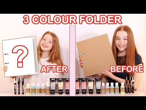 TWIN TELEPATHY 3 COLOR PAINT *DIY School Folder Makeover Challenge | Sis Vs Sis | Ruby And Raylee