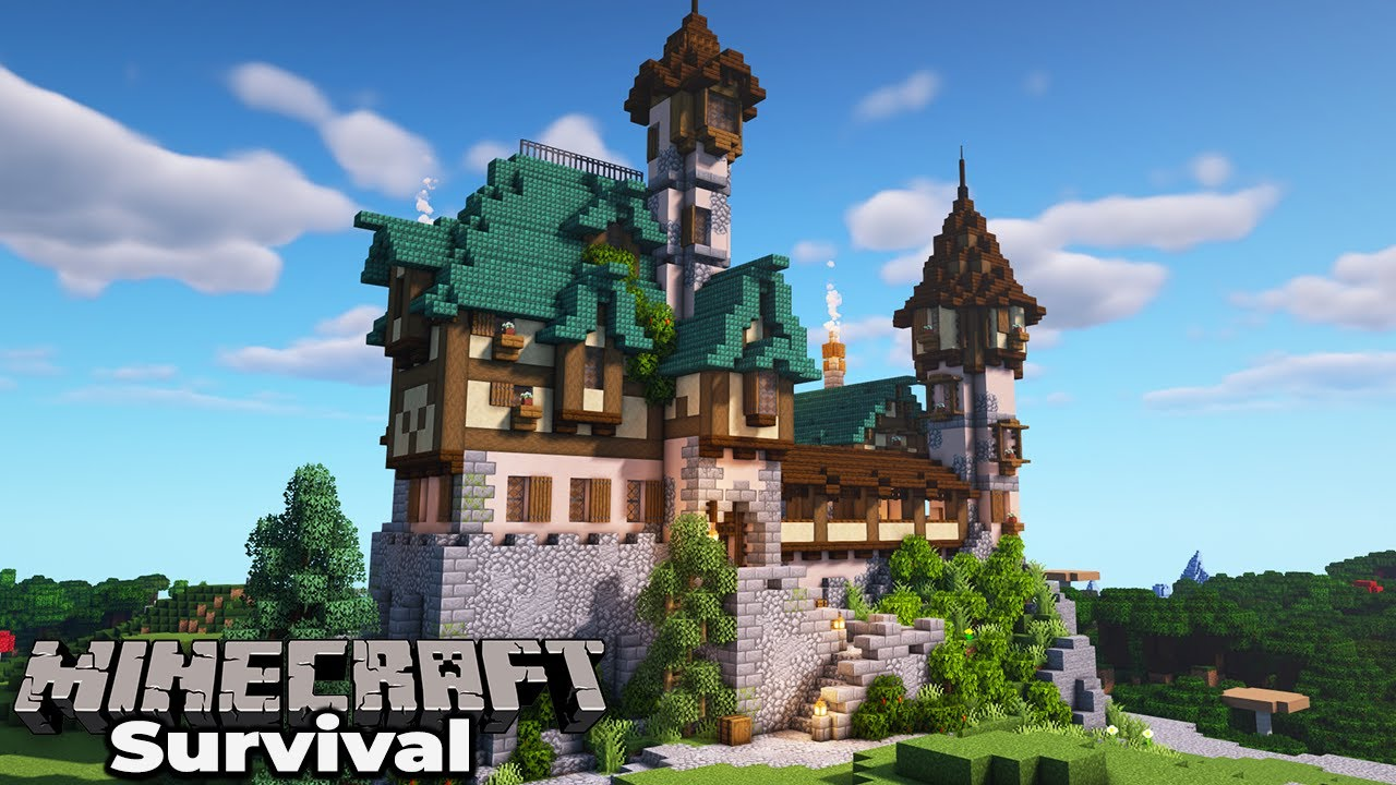 How to build an Awesome Manor House in Minecraft 12.125 Survival : Building  with fWhip
