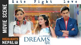 "HATE - FIGHT - LOVE | Anmol KC | Samragyee RL Shah | Nepali Superhit Movie ""Dreams"" Scene"