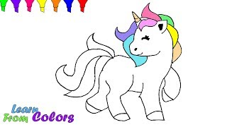 How To Draw Unicorn Coloring Pages For Kids Learn Color