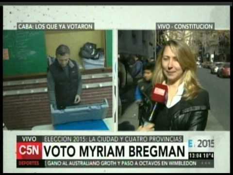 C5N - ELECCION 2015: VOTO MYRIAM BREGMAN EN LA CIUDAD