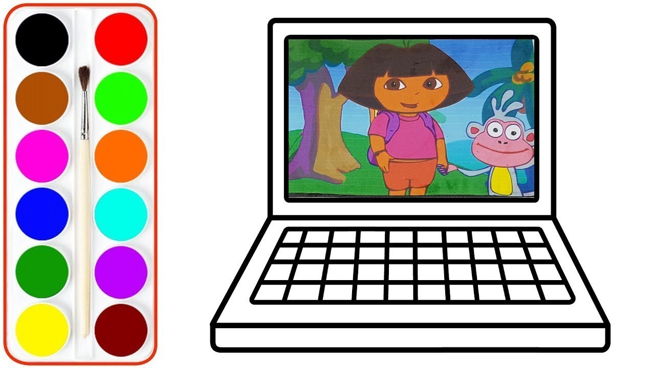 Colorier Et Dessiner Un Ordinateur Dora L Exploratrice Video Educative Planete Coloriage Youtube