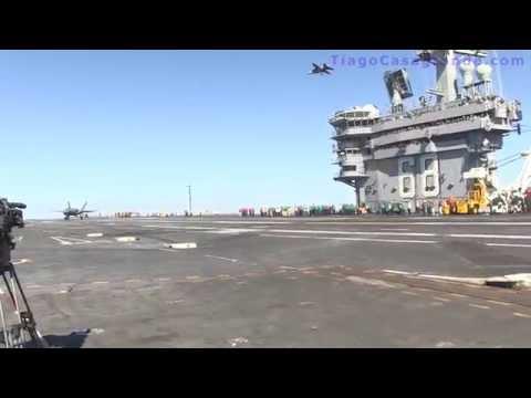 Veja um Caça F35 pousando em um porta aviões - USS Avião a jato