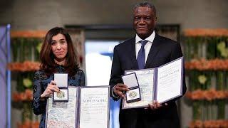 شاهد: لحظة تسلّم نادية مراد ودنيس مكويجي جائزة نوبل للسلام…