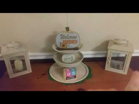 Dollar Tree Fall DIY Candle and Tier Tray