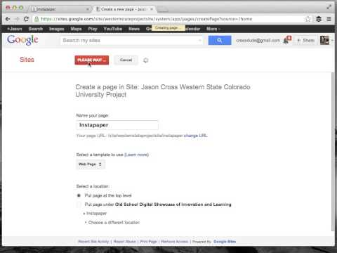 Adding and RSS Feed to a Google Site, and Instapaper