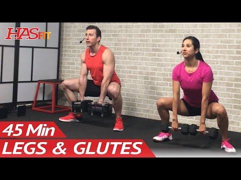 45 Min Butt and Legs Workout for Women & Men Home Leg, Glutes, Butt and Thigh Workout w/ Dumbbells