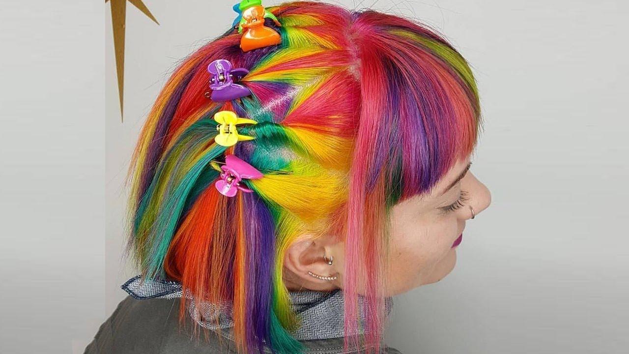 rainbow hair color transformations