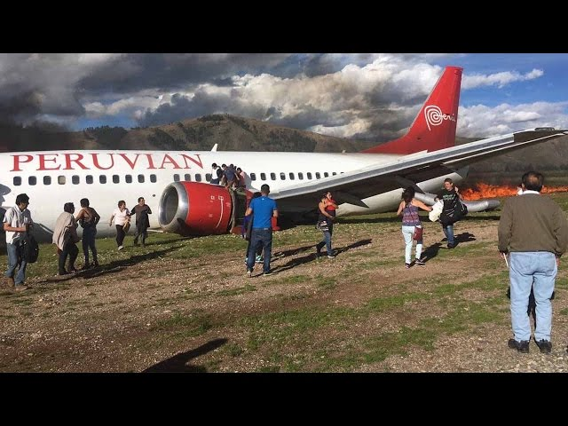 Footage: Boeing 737 catches fire after landing in Peru, no serious injuries