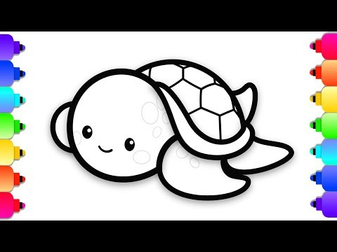 How To Draw A Baby Sea Turtle Easy Step By Step For Kids Cute Baby Sea Turtle Coloring Page Youtube