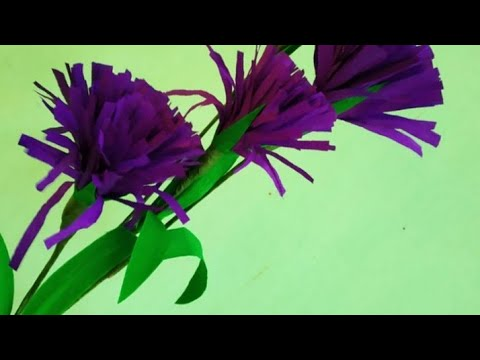 How to make violet crepe flowers malayalam with English subtitles