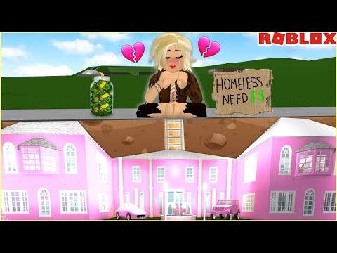 I PRETENDED TO BE HOMELESS BUT SECRETLY HAD AN UNDERGROUND MANSION...  Roblox Bloxburg
