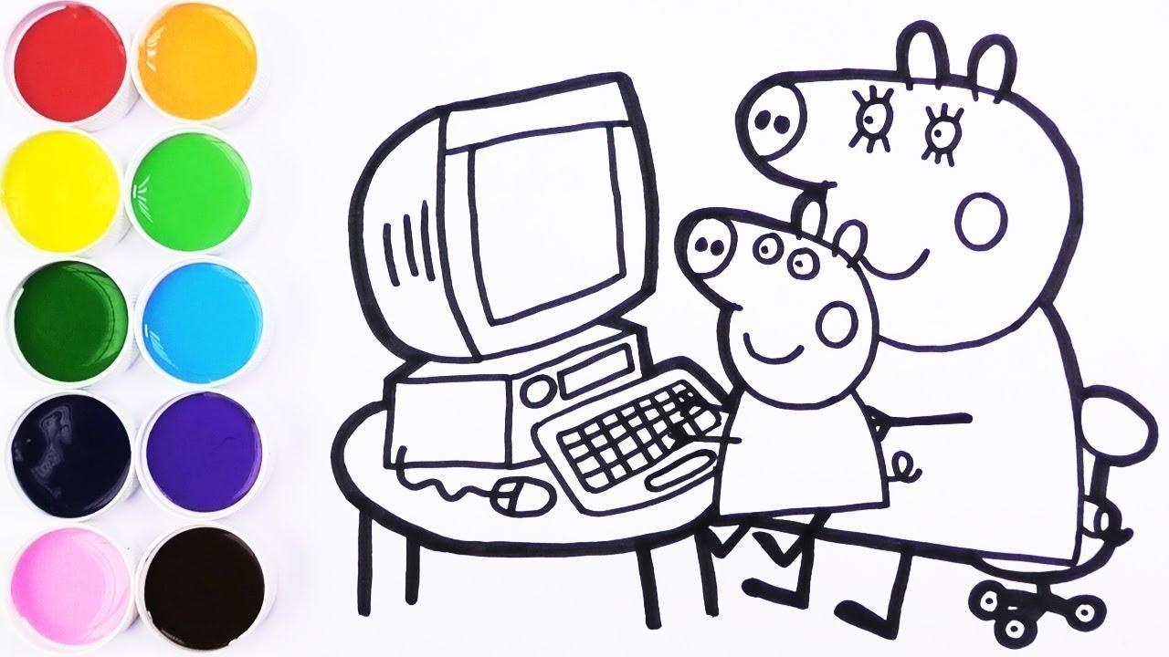 Dibuja Y Colorea A Peppa Pig Y Mama Cerdita En La Computadora Learn Colors Funkeep