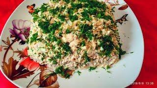 """Салат «Голь на выдумку хитра"""".Рыбный салат с лапшой быстрого приготовления.canned salad"""