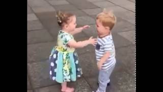 Cute baby couples kissing