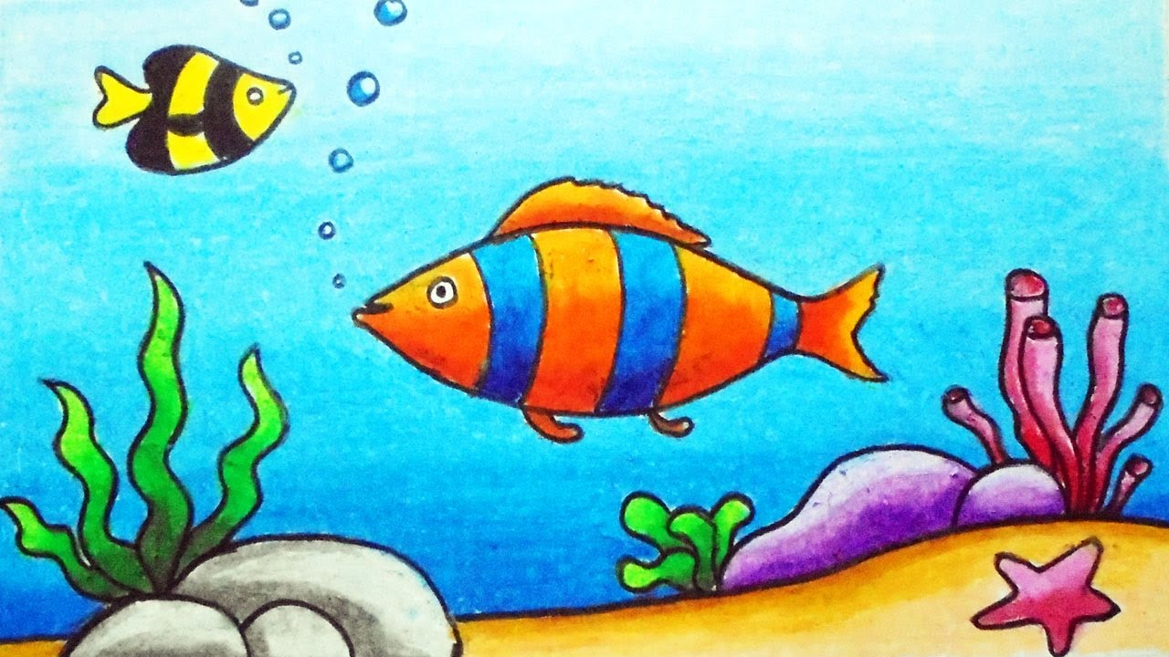 Easy Underwater Scenery Drawing for Beginners | How to Draw Scenery of Underwater Step by Step