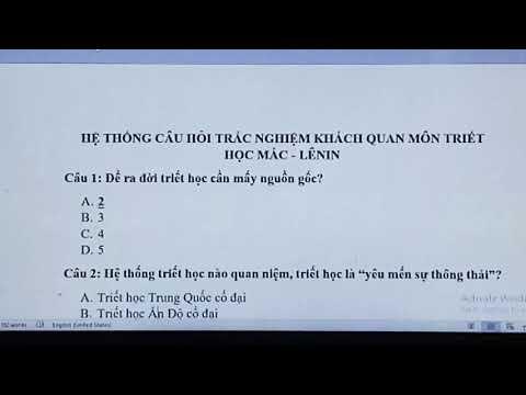 Câu hỏi trắc nghiệm môn triết học Mác - Lênin (chương 1 - phần 1)