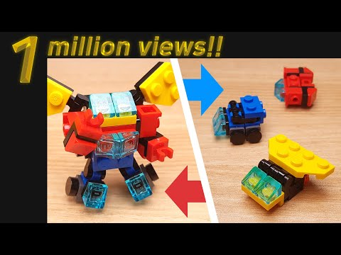 [LEGO Mini Robot Tutorial] Japanese Super Sentai Style Combiner Transformer With 3 Vehicles